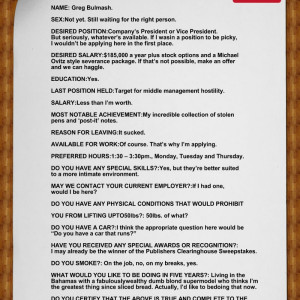 This Is NOT An Actual Job Application Submitted To McDonald's – but FUNNY all the same !