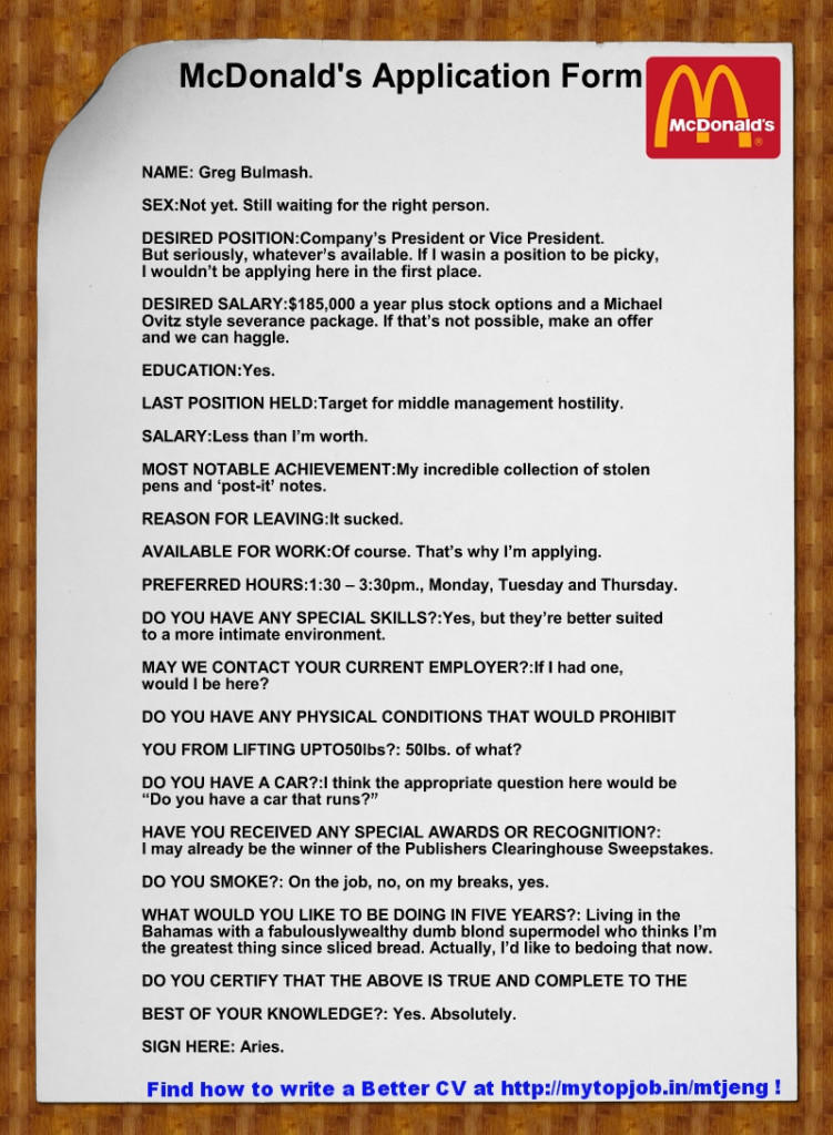 The McDonald CV that was NOT !- but funny still!