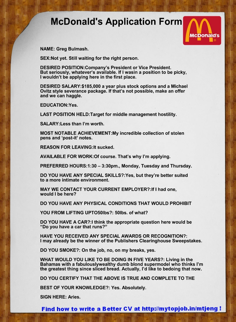 This Is NOT An Actual Job Application Submitted To McDonald\'s - but ...