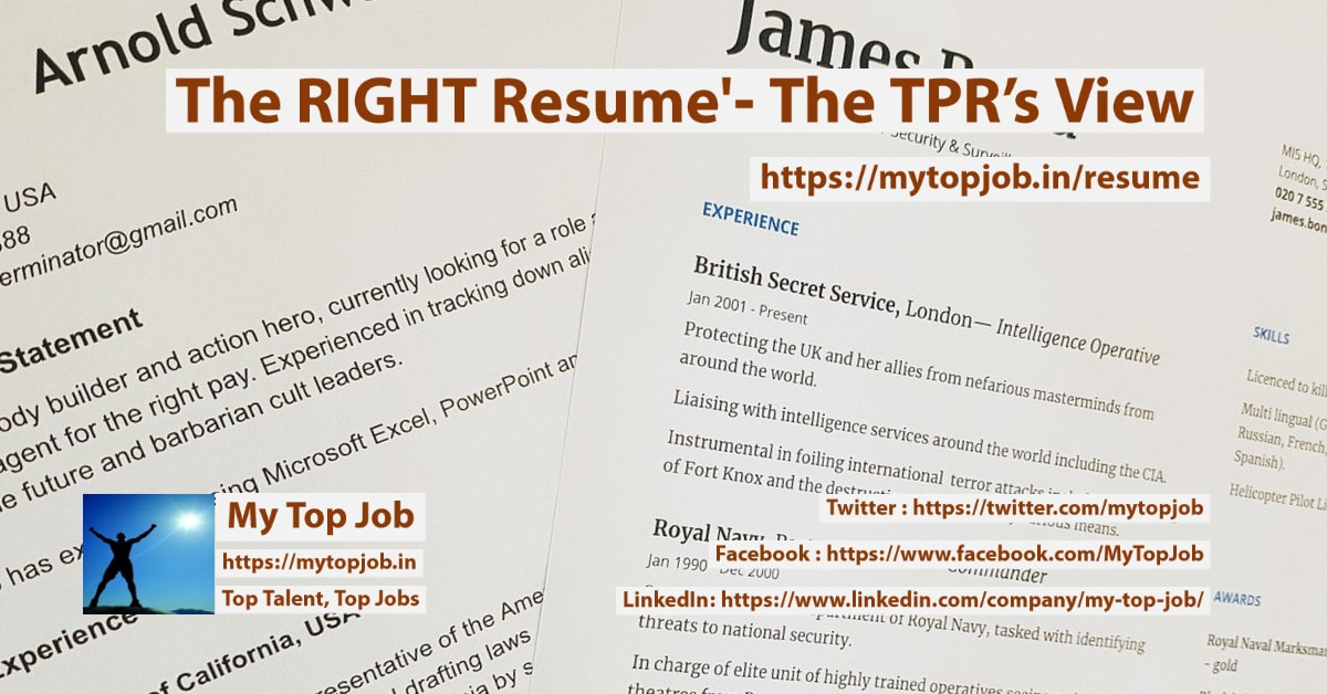 The Right resume' - The TPR's View